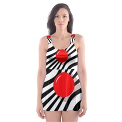 Abstract red ball Skater Dress Swimsuit