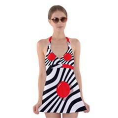 Abstract red ball Halter Swimsuit Dress