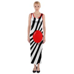 Abstract red ball Fitted Maxi Dress