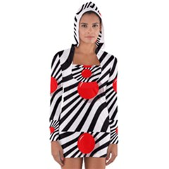 Abstract Red Ball Women s Long Sleeve Hooded T Shirt
