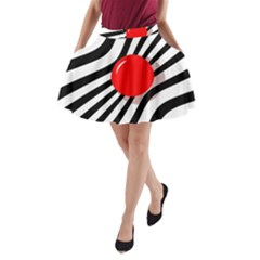 Abstract Red Ball A Line Pocket Skirt