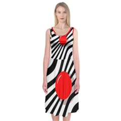 Abstract Red Ball Midi Sleeveless Dress