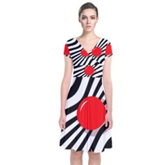 Abstract Red Ball Short Sleeve Front Wrap Dress