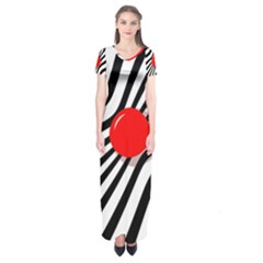 Abstract Red Ball Short Sleeve Maxi Dress