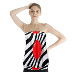 Abstract Red Ball Strapless Top
