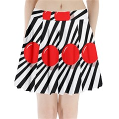 Abstract Red Ball Pleated Mini Mesh Skirt