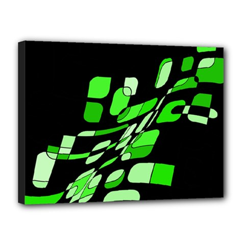 Green decorative abstraction Canvas 16  x 12