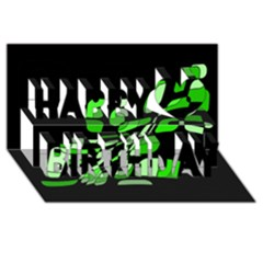 Green decorative abstraction Happy Birthday 3D Greeting Card (8x4)