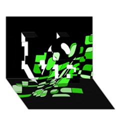 Green decorative abstraction LOVE 3D Greeting Card (7x5)