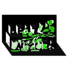 Green decorative abstraction Best Wish 3D Greeting Card (8x4)