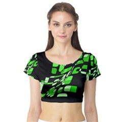 Green decorative abstraction Short Sleeve Crop Top (Tight Fit)