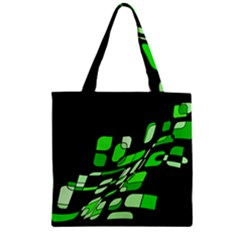 Green decorative abstraction Zipper Grocery Tote Bag