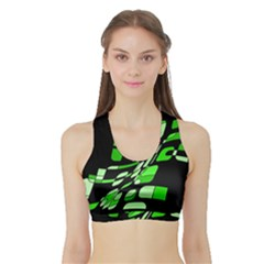 Green decorative abstraction Sports Bra with Border