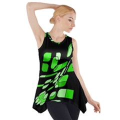 Green Decorative Abstraction Side Drop Tank Tunic