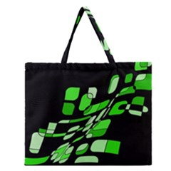 Green decorative abstraction Zipper Large Tote Bag