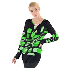 Green decorative abstraction Women s Tie Up Tee
