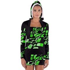 Green Decorative Abstraction Women s Long Sleeve Hooded T Shirt