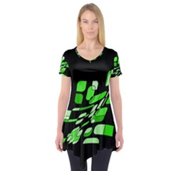 Green decorative abstraction Short Sleeve Tunic