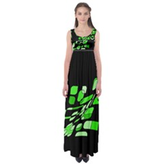Green decorative abstraction Empire Waist Maxi Dress