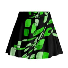 Green Decorative Abstraction Mini Flare Skirt