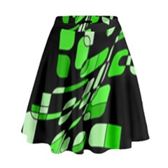 Green Decorative Abstraction High Waist Skirt