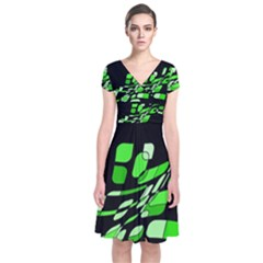 Green decorative abstraction Short Sleeve Front Wrap Dress