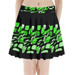 Green Decorative Abstraction Pleated Mini Mesh Skirt