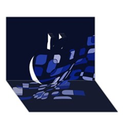 Blue abstraction Apple 3D Greeting Card (7x5)