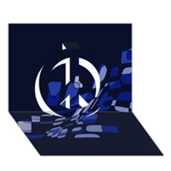 Blue abstraction Peace Sign 3D Greeting Card (7x5)