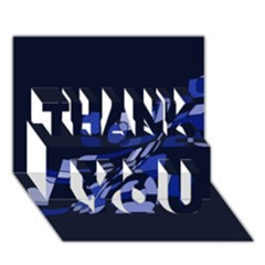 Blue abstraction THANK YOU 3D Greeting Card (7x5)