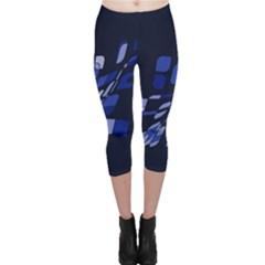 Blue abstraction Capri Leggings