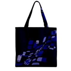 Blue abstraction Zipper Grocery Tote Bag