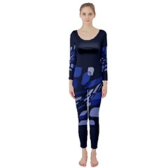 Blue abstraction Long Sleeve Catsuit