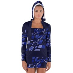 Blue Abstraction Women s Long Sleeve Hooded T Shirt