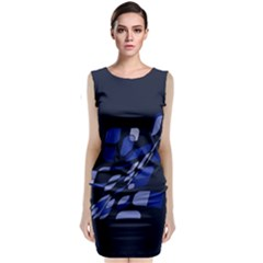 Blue Abstraction Classic Sleeveless Midi Dress