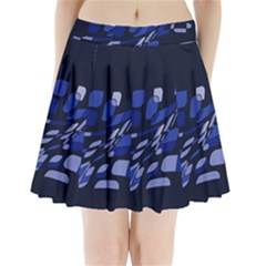 Blue Abstraction Pleated Mini Mesh Skirt