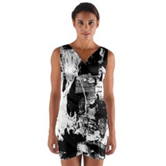 Grunge Skull Wrap Front Bodycon Dress