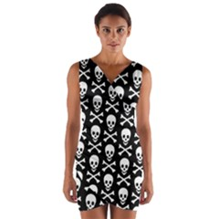 Skull And Crossbones Pattern Wrap Front Bodycon Dress