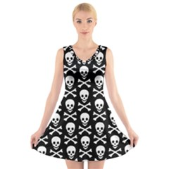 Skull And Crossbones Pattern V Neck Sleeveless Skater Dress