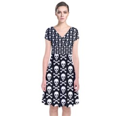 Skull and Crossbones Pattern Short Sleeve Front Wrap Dress