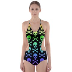 Rainbow Skull And Crossbones Pattern Cut Out One Piece Swimsuit