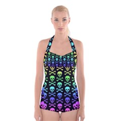 Rainbow Skull and Crossbones Pattern Boyleg Halter Swimsuit