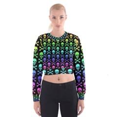 Rainbow Skull and Crossbones Pattern Women s Cropped Sweatshirt
