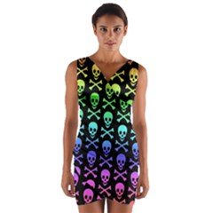 Rainbow Skull and Crossbones Pattern Wrap Front Bodycon Dress