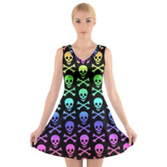 Rainbow Skull And Crossbones Pattern V Neck Sleeveless Skater Dress