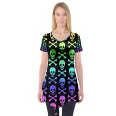 Rainbow Skull and Crossbones Pattern Short Sleeve Tunic