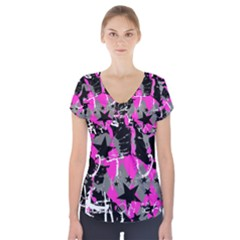 Pink Scene kid Short Sleeve Front Detail Top