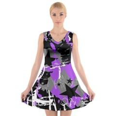 Purple Scene Kid V-Neck Sleeveless Skater Dress