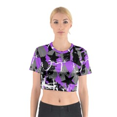 Purple Scene Kid Cotton Crop Top