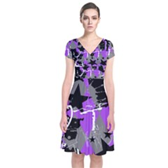 Purple Scene Kid Short Sleeve Front Wrap Dress
